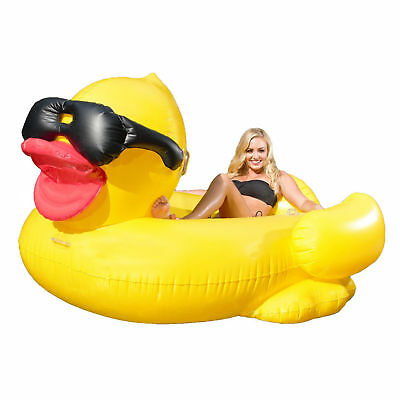 """Giant Derby Duck Water Raft Inflatable Pool Float Rubber Ducky Lounger 81"""" LONG"""