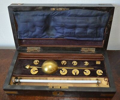 Antique Sikes London Hydrometer case brass weights thermometer gauge scientific
