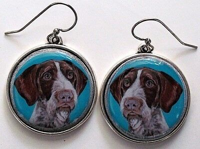 German Wire Haired Pointer Original Art Earrings
