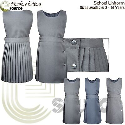 Pinafore Dress Pleated 2-16 Girls School Uniform Bib Grey Pini dress Children