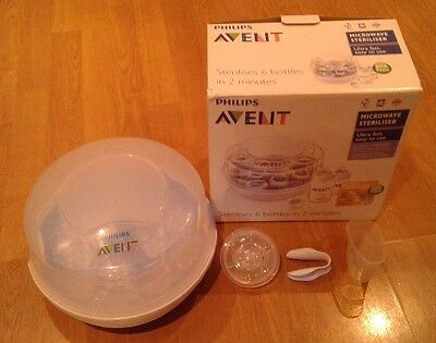 Philips Avent 6-Bottle Baby Microwave Steriliser With Tongs Measuring Jug Dummy