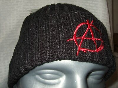 info for 3db49 952b1 New Adult Black Anarchy Anarchist Red Embroidered Symbol Knit Beanie Cap  Ski Hat