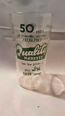 Vintage advertising measuring glass - Quality Markets 50 Years   1913 - 1963