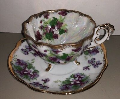 Napco Tea Cup and Saucer- Bone China Violets Footed