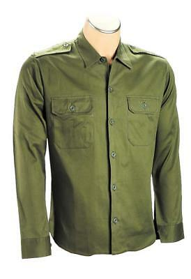 Olive Cotton Army Shirt Military Security Mens Long Sleeve 2 Pocket Epaulettes