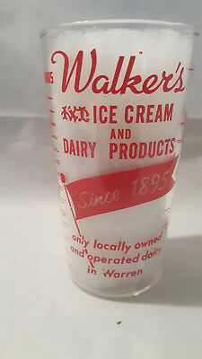 Vintage advertising measuring glass - Walker's Ice Cream and Dairy Products