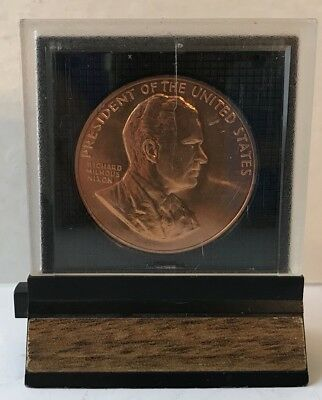 1969 President RICHARD M. NIXON Inaugural Copper Medal in Display Case A NEW DAY