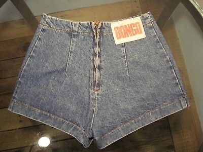 "Vintage 90s BONGO DENIM SHORTS by Gene Montesano Back Zipper HIGH WAIST 24"" sz 1"