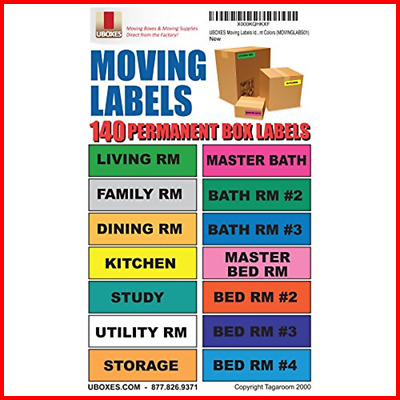 UBOXES Moving Labels Identify Box Contents W 140 4.5 X 1 Each MOVINGLABS01