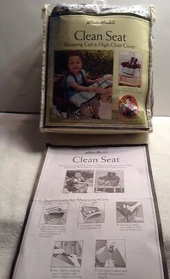 Eddie Bauer Baby Clean Seat Shopping Cart & High Chair Cover Brown & Blue NEW