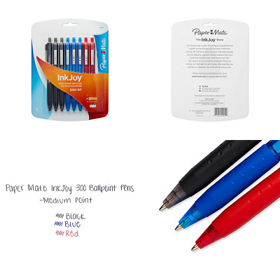Paper Mate Inkjoy 300RT Retractable Ballpoint Pen MEDIUM Point Assorted Colors 8