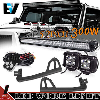 Jeep JK Wrangler 52'' LED Light Bar Combo Beam+Mounting Bracket+Pods+Wiring Kit