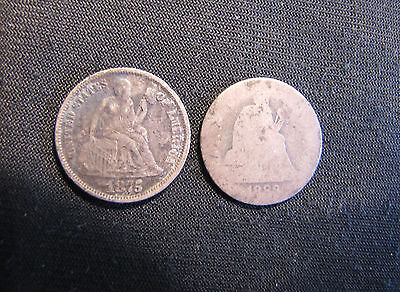 Lot of 2 Seated Liberty Silver Dimes - 1875 (Full Liberty) & 1888