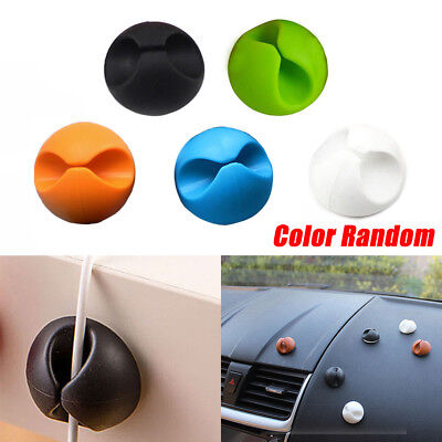6pc Random Color Car Windshield Cables Holder Wires Clip Sticky Desk Accessories