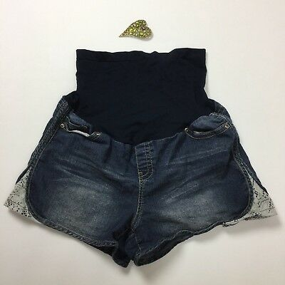 Belly by Design Maternity Jean Shorts XL X-LARGE Stretch Full Panel Lace Detail