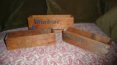 Antique PABST-ETT Blue Label Kraft and Windsor WOOD CHEESE BOX Lot Vintage
