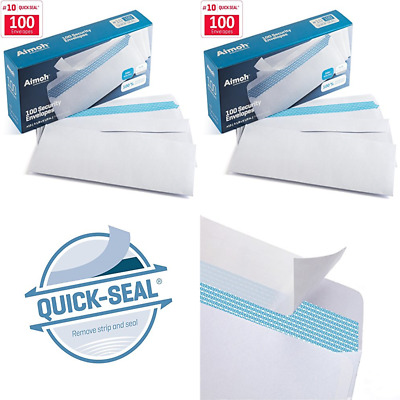100 #10 Security SELF SEAL Envelopes No Window Premium Tint Ideal For Home Offic