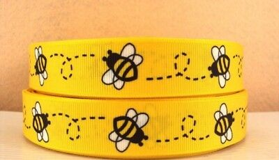 Grosgrain Ribbon Bees on Yellow 22mm (1m, 2m or 5m)