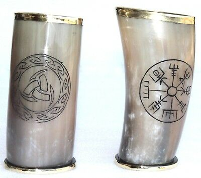 """Set of 2 Norse symbols engraved viking drinking horn cups 6"""" for beer ale mead"""