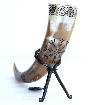 Helm of Awe and Celtic knot engraved beer ale viking drinking horn for groomsmen