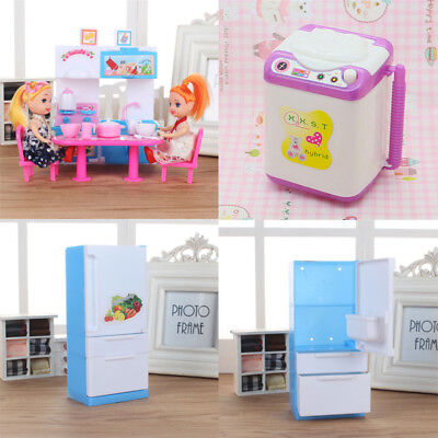 1pc Fashion Dollhouse Accessory Blue Furniture Refrigerator For Barbie Doll