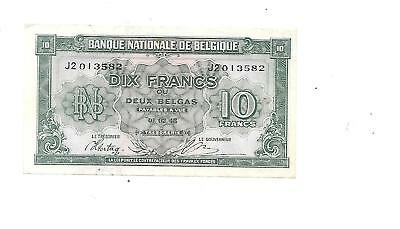 Belgium 1943  Wwii 10 Francs Bank Note Exc Condition