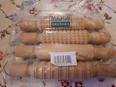 Wooden Patterned Textured Rolling Pins Pack of 4 Clay Dough Pastry Sensory Craft