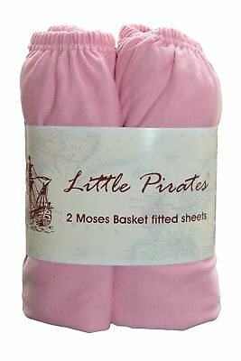 2 pack Baby Pram/Moses Basket Oval Jersey Fitted Sheet 100% Cotton Pink 12'x3...