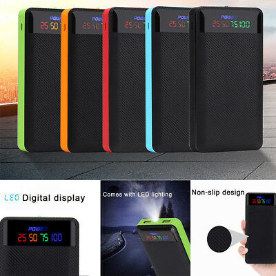 2A LED Display Dual USB Power Bank Case 4/6*18650 Battery Charger Kit for iPhone