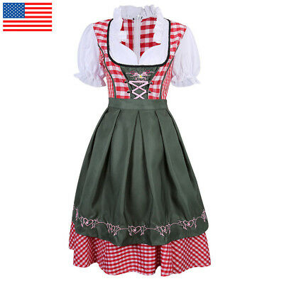 Women Oktoberfest Dress German Bavarian Ethnic Trachten Beer Dirndl Costume