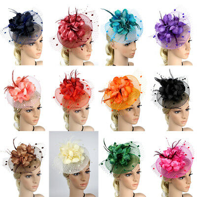 AU New Style Women´s Feather Headdress Flower Band Cocktail Hat Party Hairband