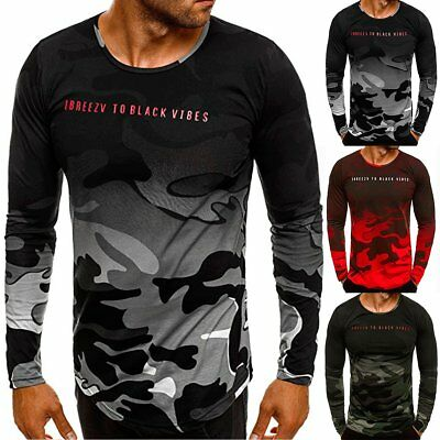 Men's Slim Fit Camo Long Sleeve Gym Muscle Tee Shirt Casual T-shirt Tops Blouse