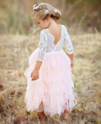 Flower Girl Dress Kid Baby Princess Lace Backless Party Gown Bridesmaid Dress AU