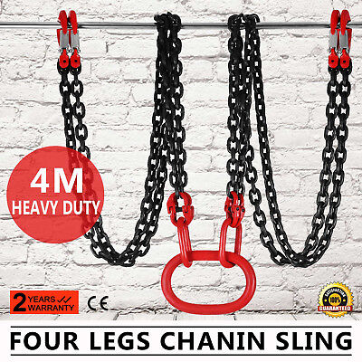13 Foot Alloy Steel Lifting Chain Sling 4 Legs Sling Hook Chains Adjuster HQ