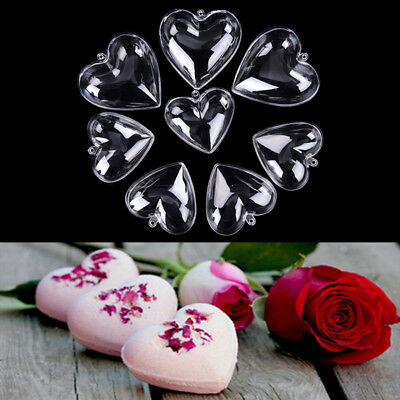 2Pcs Heart Shape Clear Shower Bath Bomb Mould Mold Craft Wedding Party Decor New