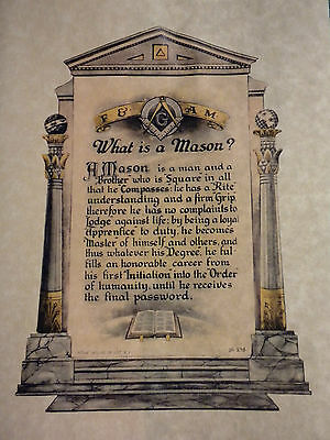 Antique Masonic What is a Mason?art print poster ring F&AM Art Master Freemasons