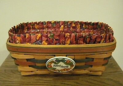 Fall LONGABERGER Autumn Bakers Bounty 1998 Basket, Liner, Tie On & Protector VGC