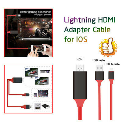 Perfect For iPhone iPad Screen To TV Cable HDMI 1080p IOS Adapter USB Charger UK