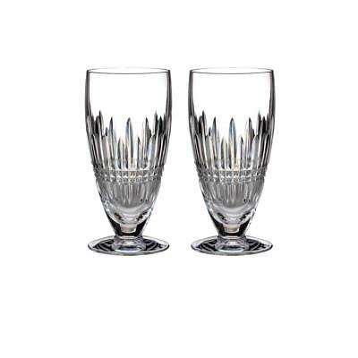 Waterford Lismore Diamond Platinum Iced Beverage Glasses Set of 2, New in Box