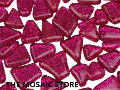 Pink Glitter Glass Tiles Irregular - Mosaic Art Craft Supplies