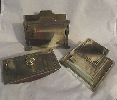 Antique Vintage Braddley And Hubbard Mfg Co Art Deco Brass Desk Set 4