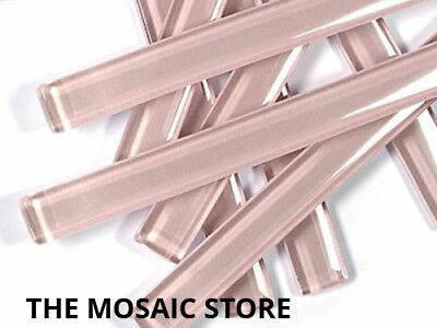 Pink Crystal Glass Mosaic Tile Strips 10x98x4mm (U9) - Art & Craft Supplies
