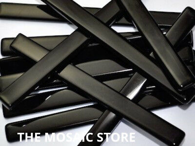 Black Crystal Glass Mosaic Tile Strips 10x98x4mm - Art & Craft Supplies