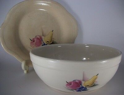 Knowles Utility Ware USA Fruit Motif 9 In Vegetable Bowl & Tab Handle Plate