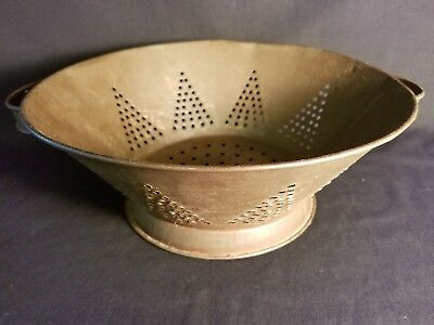Antique Tin Colander Strainer Soldered Tree Hole Pattern Vintage