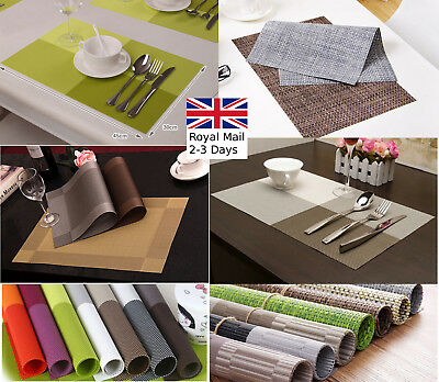 2/4pcs set Dining Table Place Mats PVC Placemats Pad Weave Woven Effect Modern