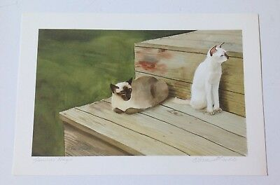 "Catmandrew, SUMMER DAYS art print, """"Drew Strouble"""", 2 siamese cats, lot of 2"