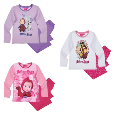 Girls Kids Official Licensed Masha And The Bear Long Sleeve Pyjamas PJs
