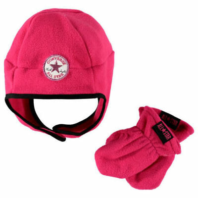 New CONVERSE HAT Baby Fleece Trapper Hat + Mittens Set 1-3y Toddler Winter