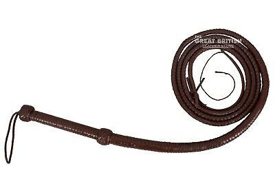 INDIANA JONES BULL WHIP HUNTER BROWN REAL COWHIDE LEATHER 10 FOOT LONG Bull Whip